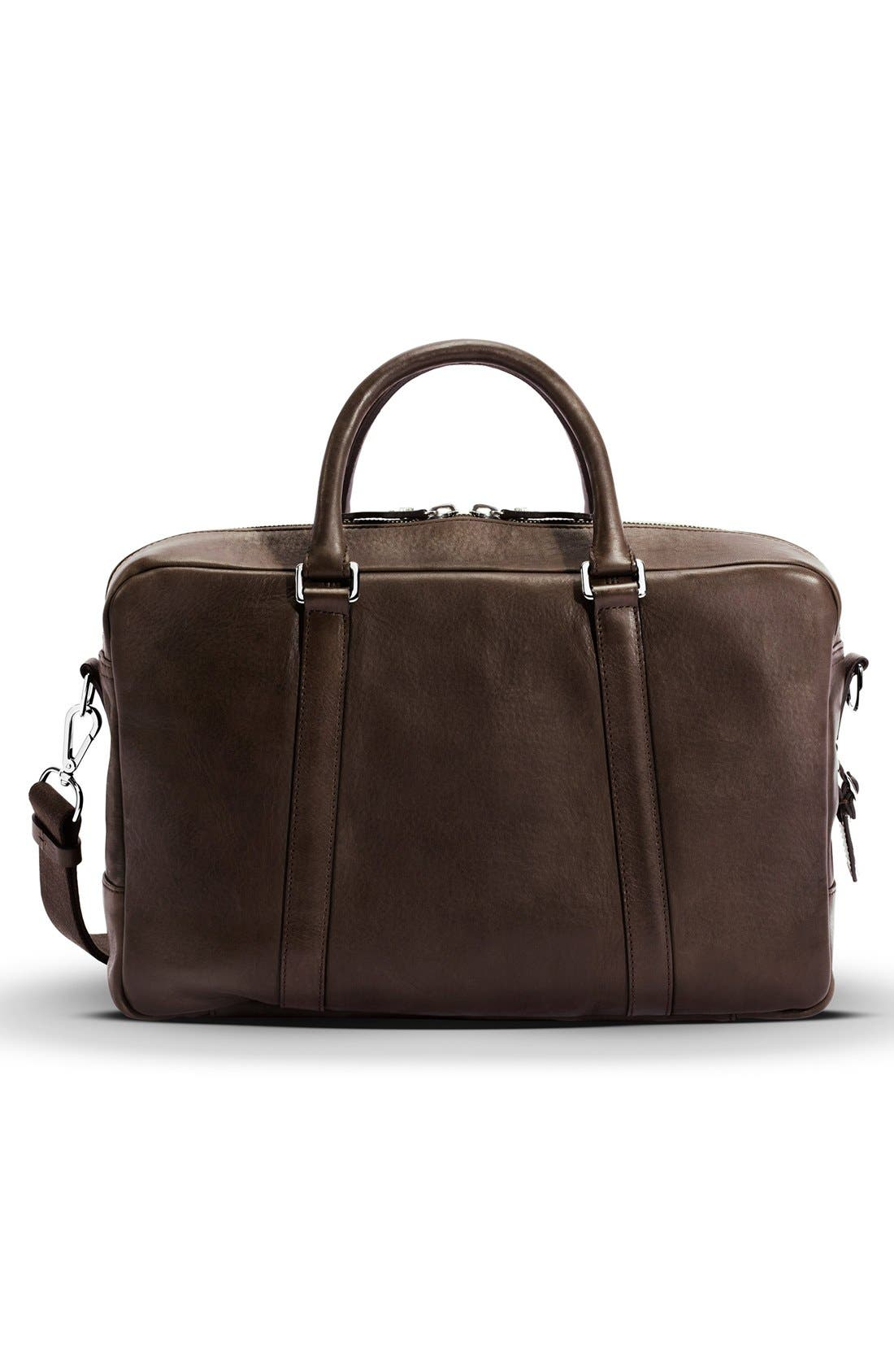 Signature Leather Slim Briefcase,                             Alternate thumbnail 2, color,                             Deep Brown