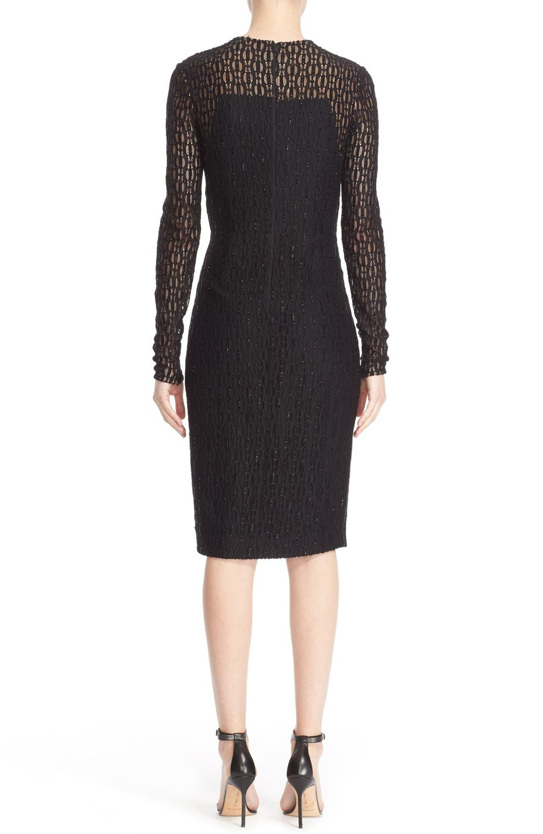 Alternate Image 2  - Carmen Marc Valvo Couture Embellished Illusion Lace Knit Sheath Dress