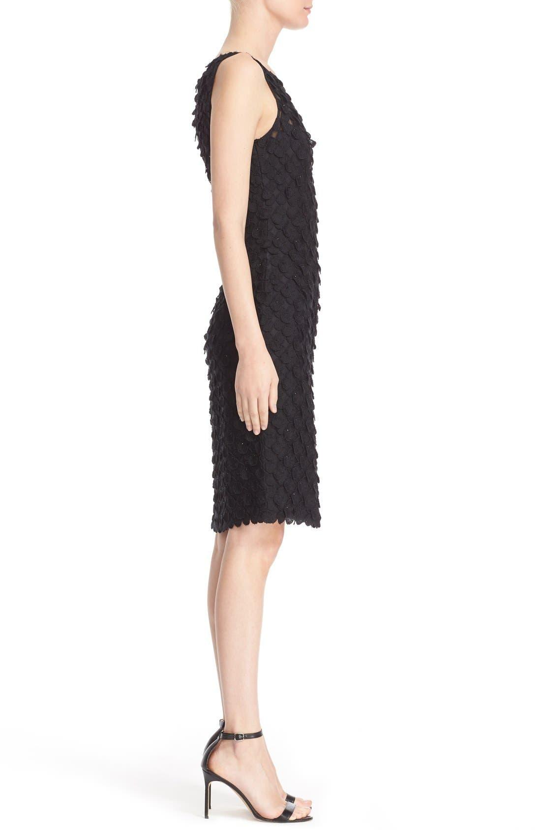 Circle Appliqué Sleeveless Sheath Dress,                             Alternate thumbnail 4, color,                             Black
