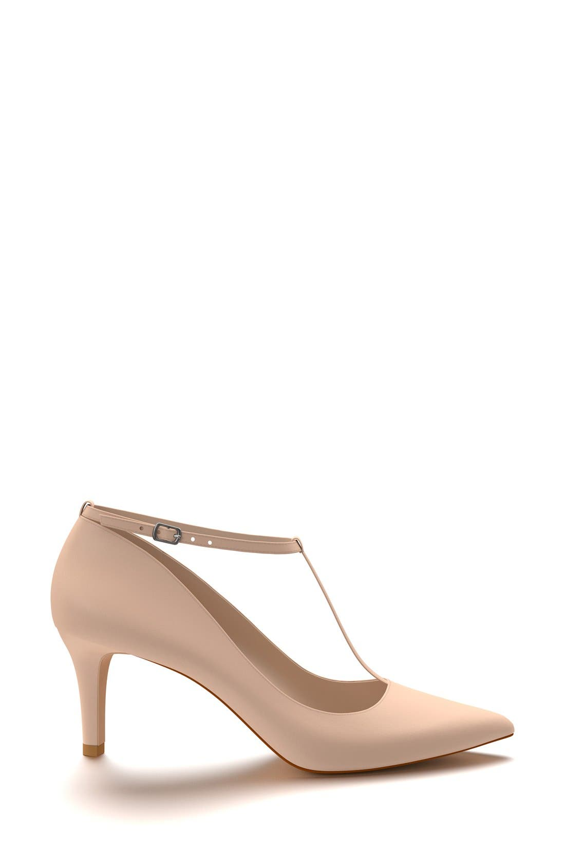 T-Strap Pump,                             Alternate thumbnail 4, color,                             Blush Leather