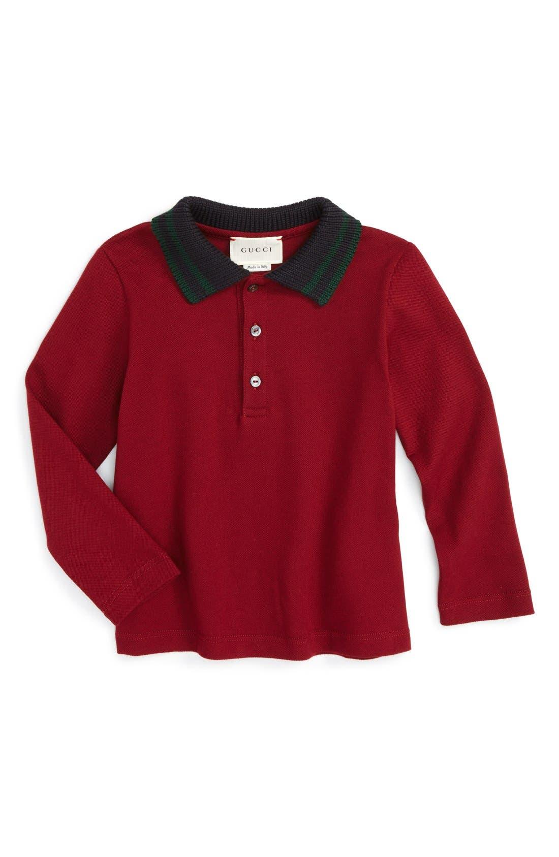 Main Image - Gucci Stripe Collar Long Sleeve Polo (Baby Boys & Toddler Boys)