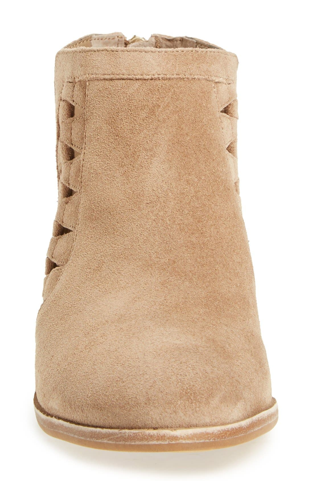 'Peera' Cutout Bootie,                             Alternate thumbnail 3, color,                             Khaki Suede