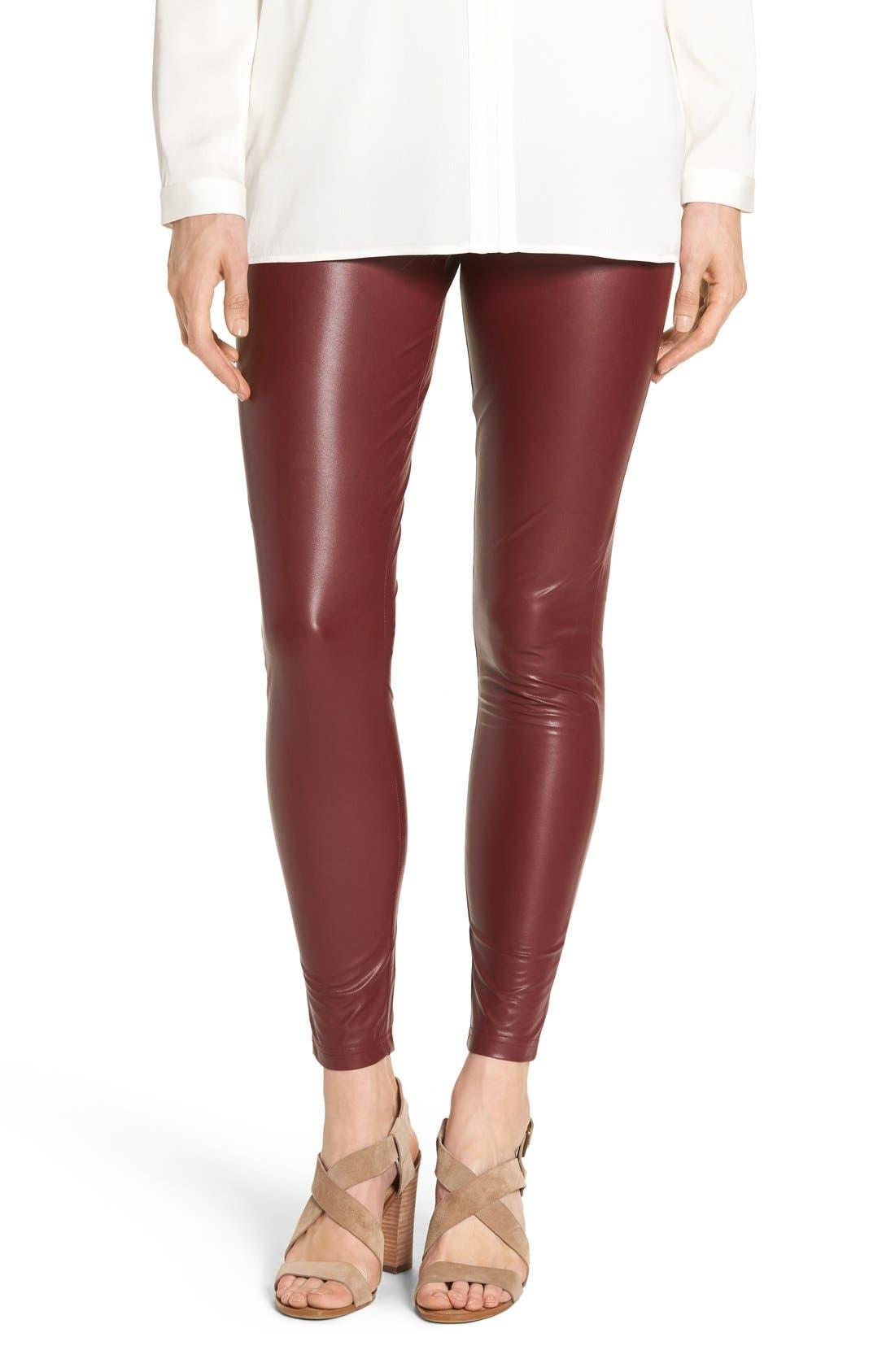 'Leatherette' Faux Leather Leggings,                         Main,                         color, Sangria
