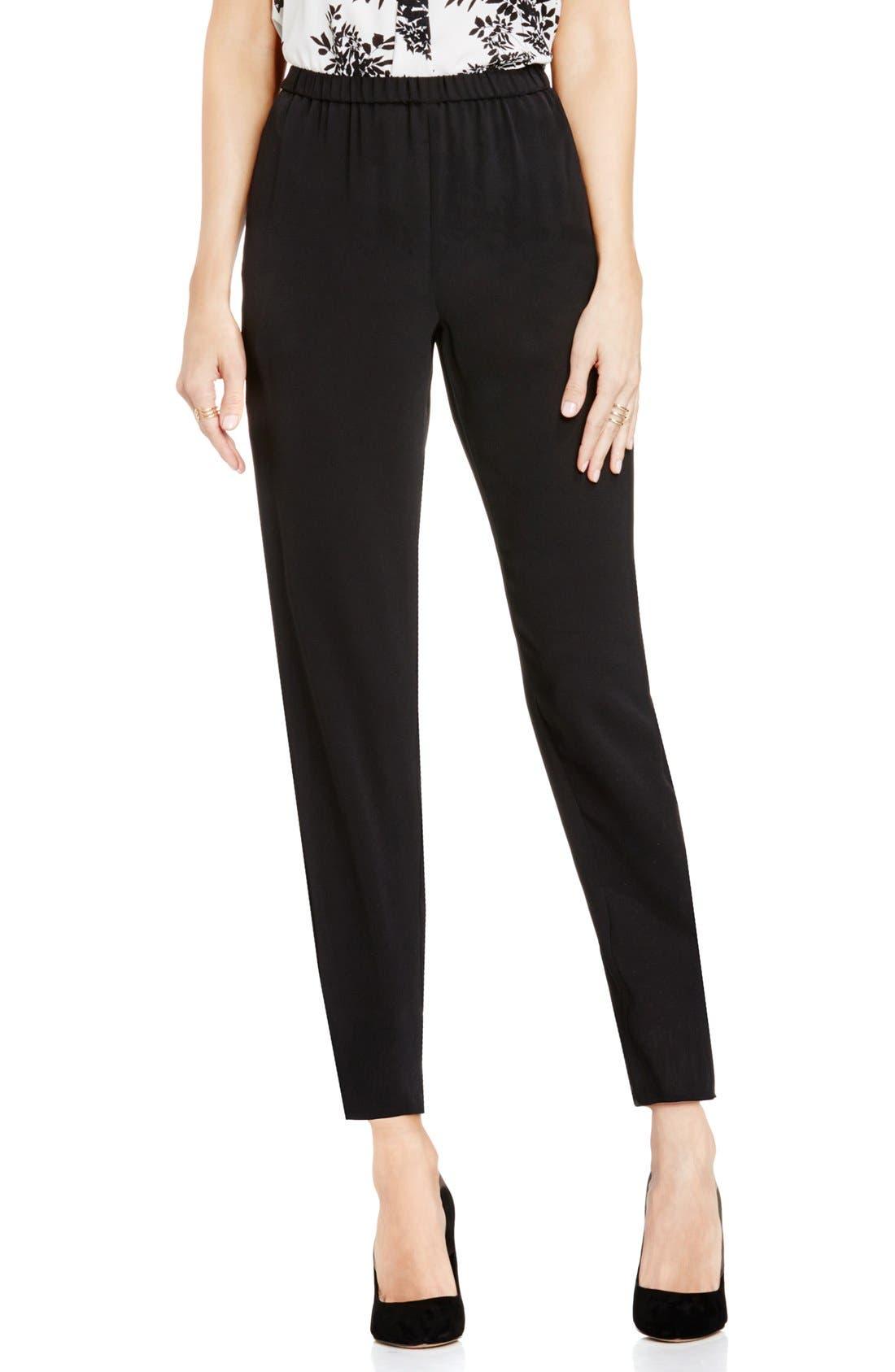 Slim Leg Ankle Pants,                         Main,                         color, Rich Black