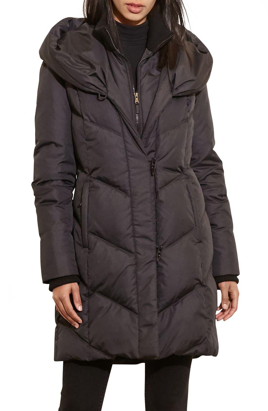 Lauren Ralph Lauren Quilted Hooded Coat with Knit Trim