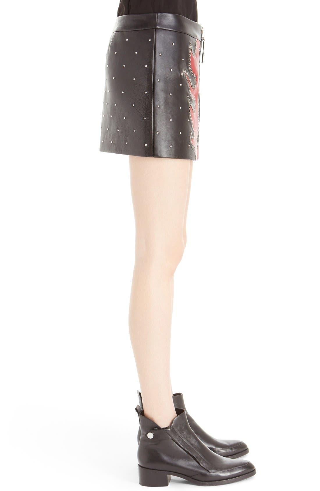 Alternate Image 5  - Anthony Vaccarello Fire Bicolore Leather Miniskirt