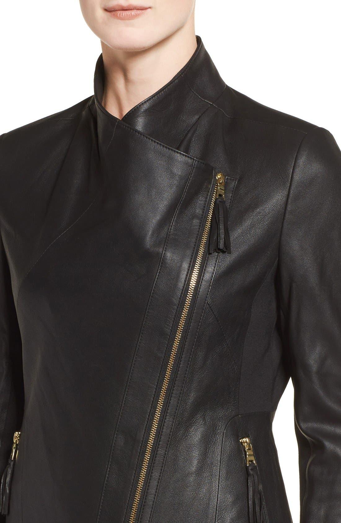Alternate Image 4  - Via Spiga Asymmetrical Leather Jacket