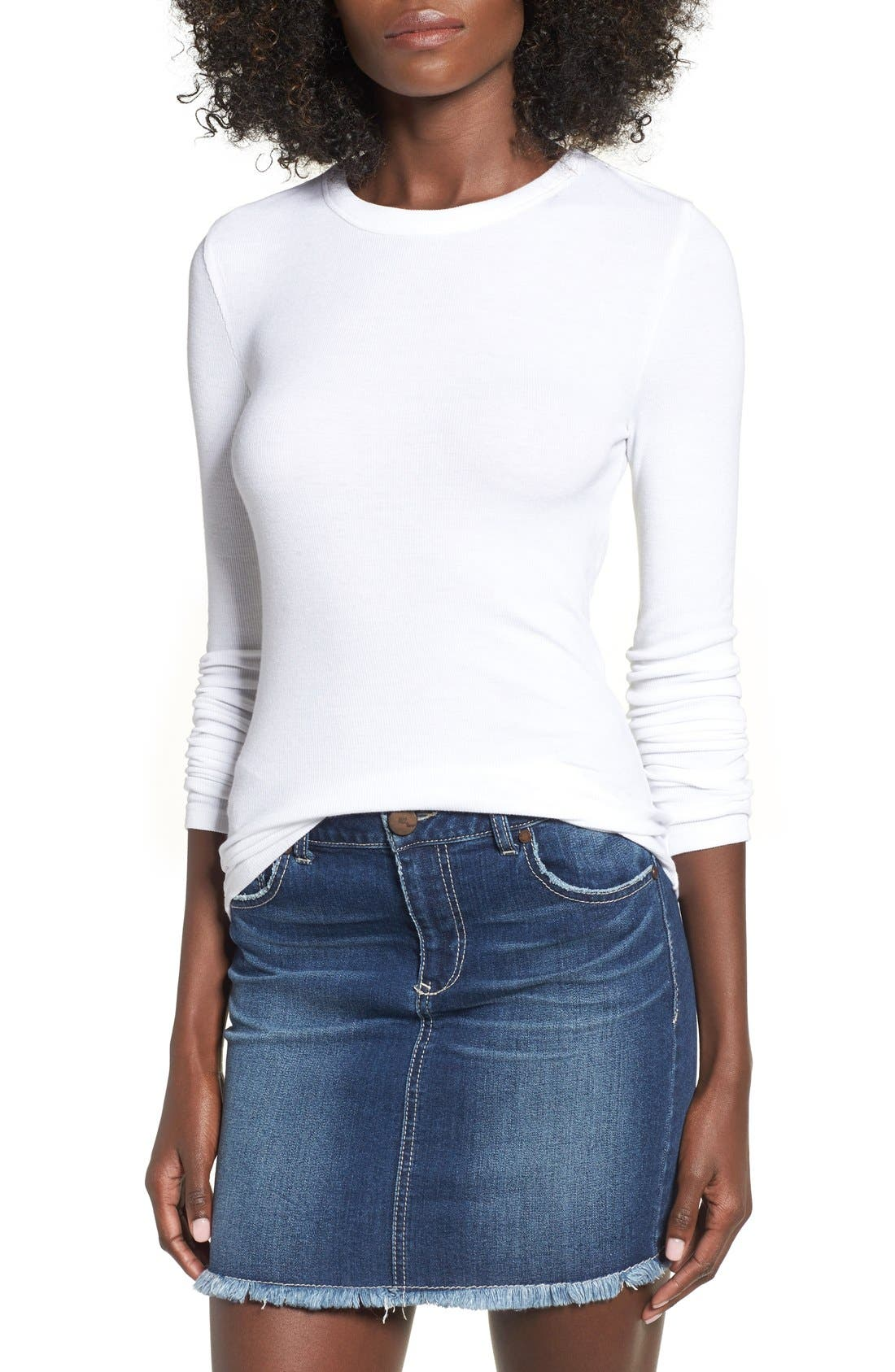 Ribbed Long Sleeve Tee,                         Main,                         color, White