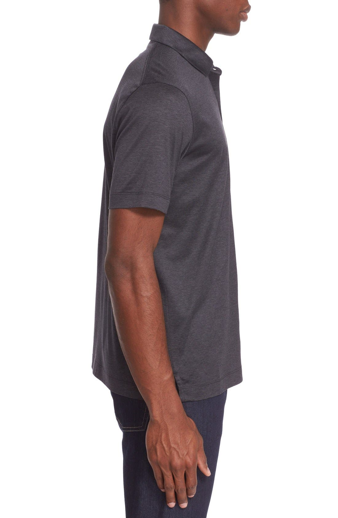 Heathered Mercerized Jersey Polo,                             Alternate thumbnail 3, color,                             Charcoal