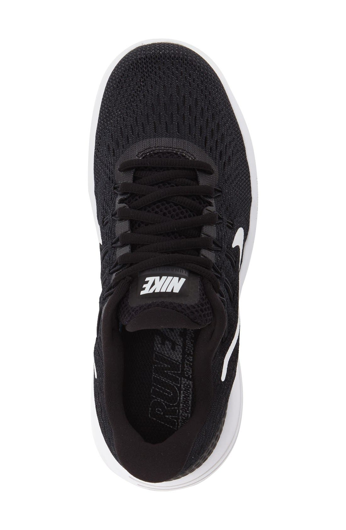 'LunarGlide 8' Running Shoe,                             Alternate thumbnail 3, color,                             Black/ White/ Anthracite