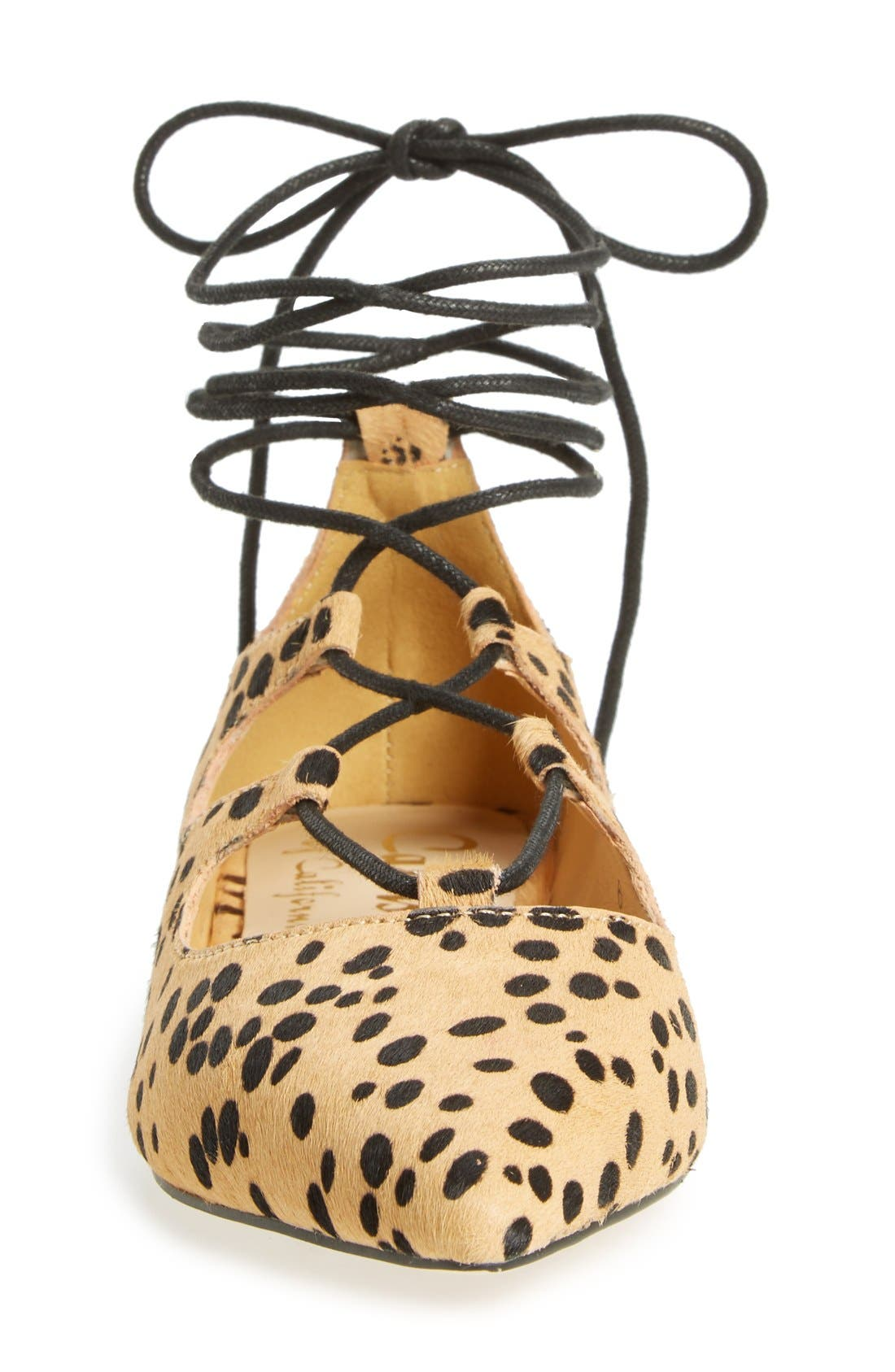 'Rian' Ghillie Lace Pointy Toe Flat,                             Alternate thumbnail 3, color,                             Leopard Haircalf