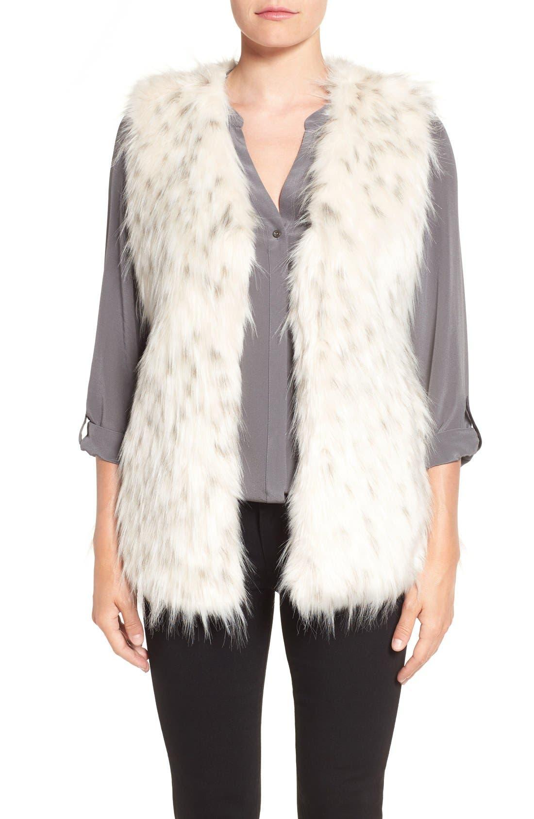 VIA SPIGA Collarless Faux Fur Vest