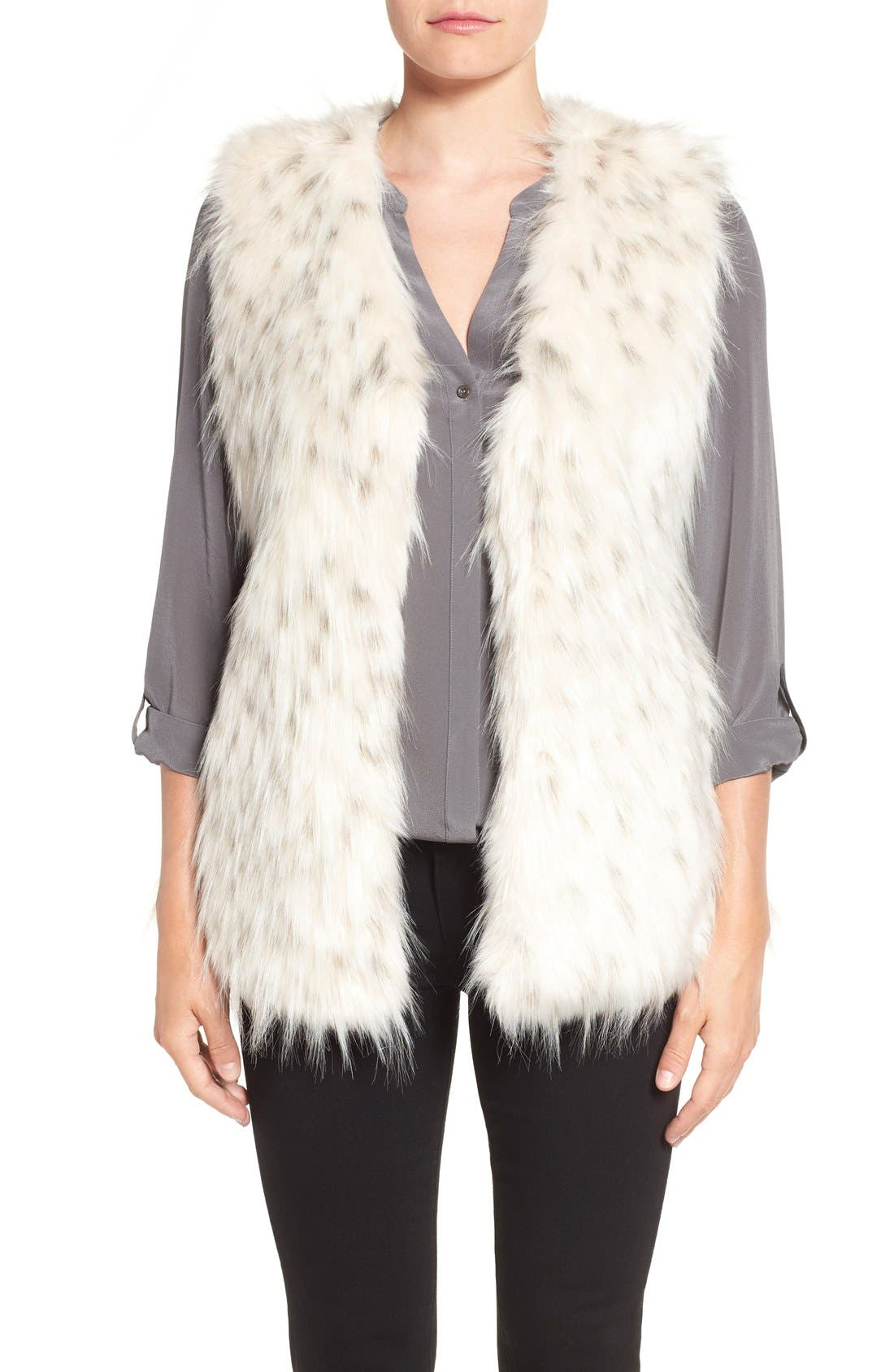Collarless Faux Fur Vest,                         Main,                         color, White Black Tipping