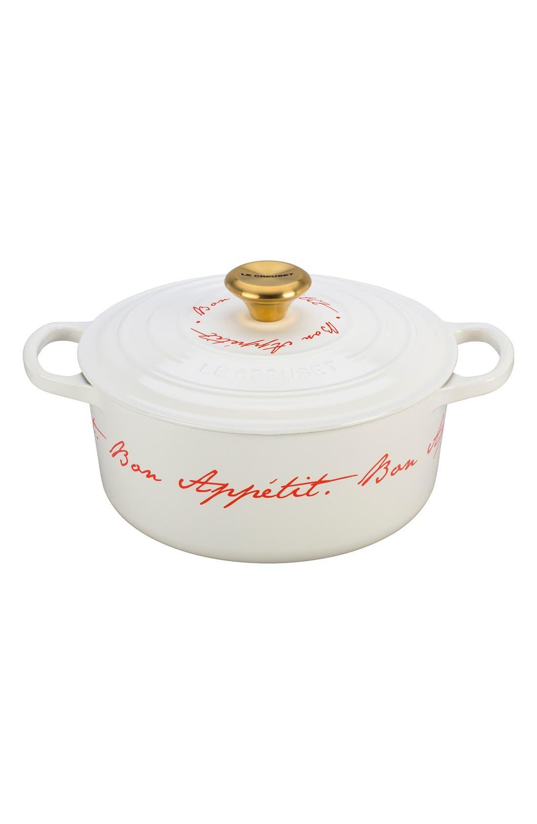 'Bon Appétit - Gold Knob' 4 1/2 Quart Round Enamel Cast Iron French/Dutch Oven,                         Main,                         color, White