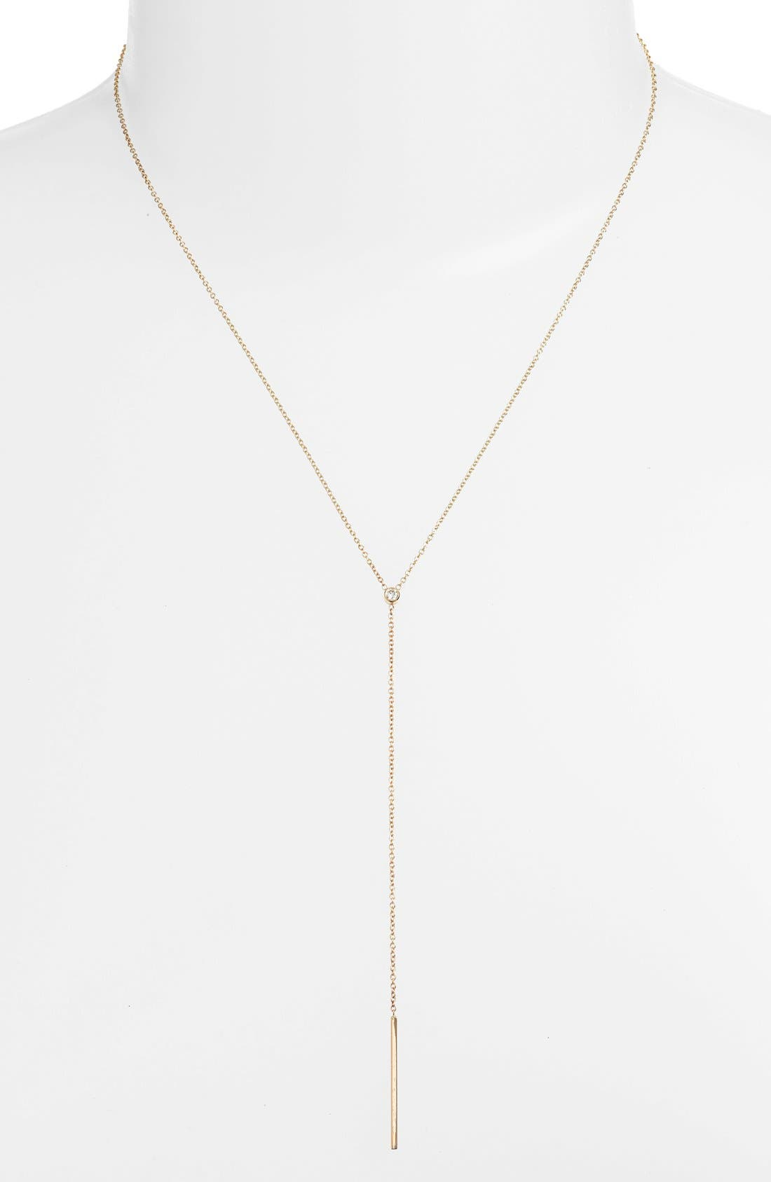 Diamond Bezel Y-Necklace,                         Main,                         color, Yellow Gold