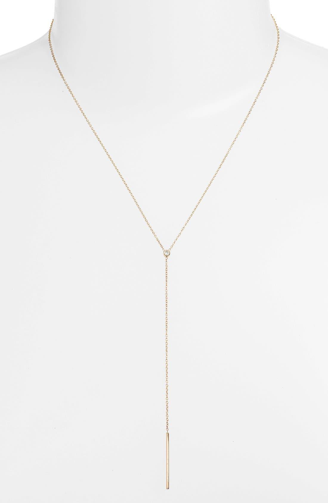 Diamond Bezel Y-Necklace,                         Main,                         color, Yellow Gold