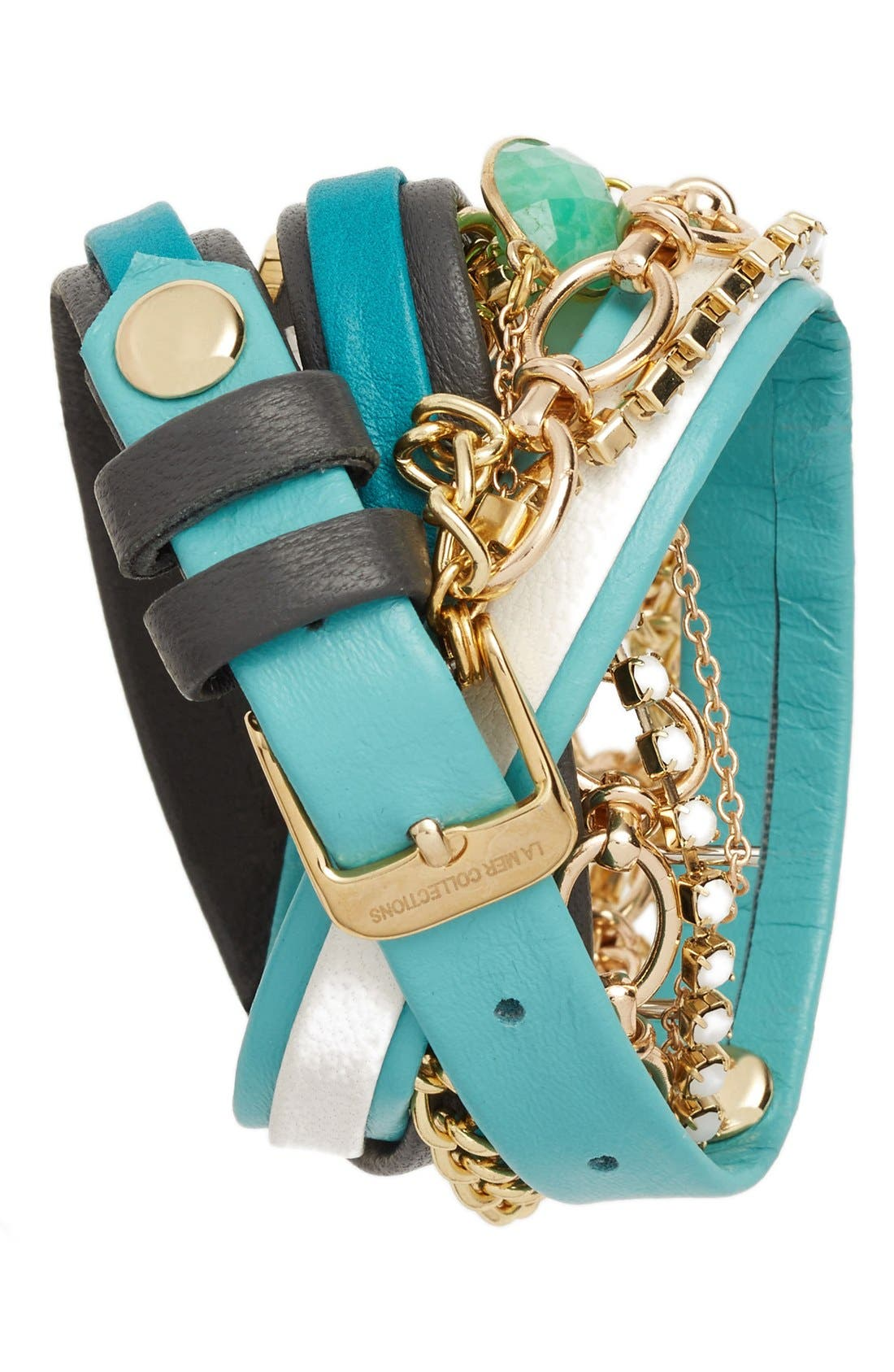 Alternate Image 2  - La Mer Collections Leather & Chain Wrap Bracelet Watch, 28mm
