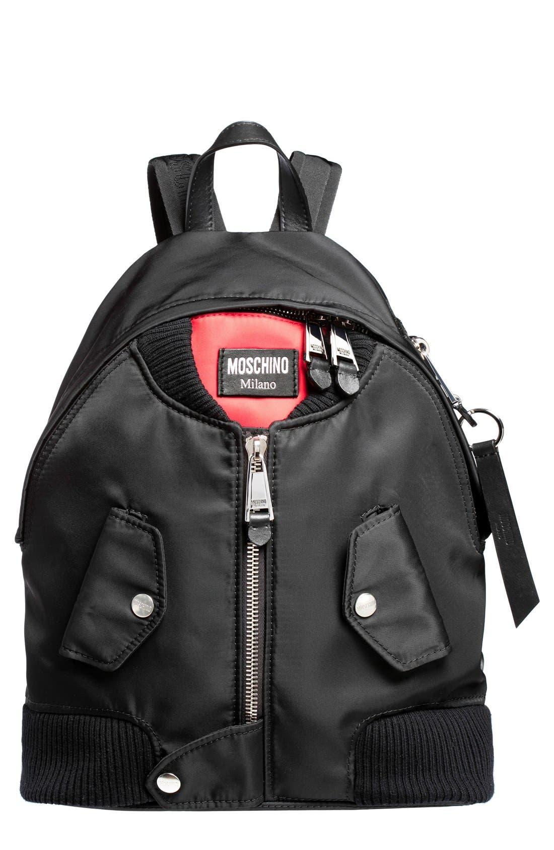 Alternate Image 1 Selected - Moschino Bomber Skull Print Backpack