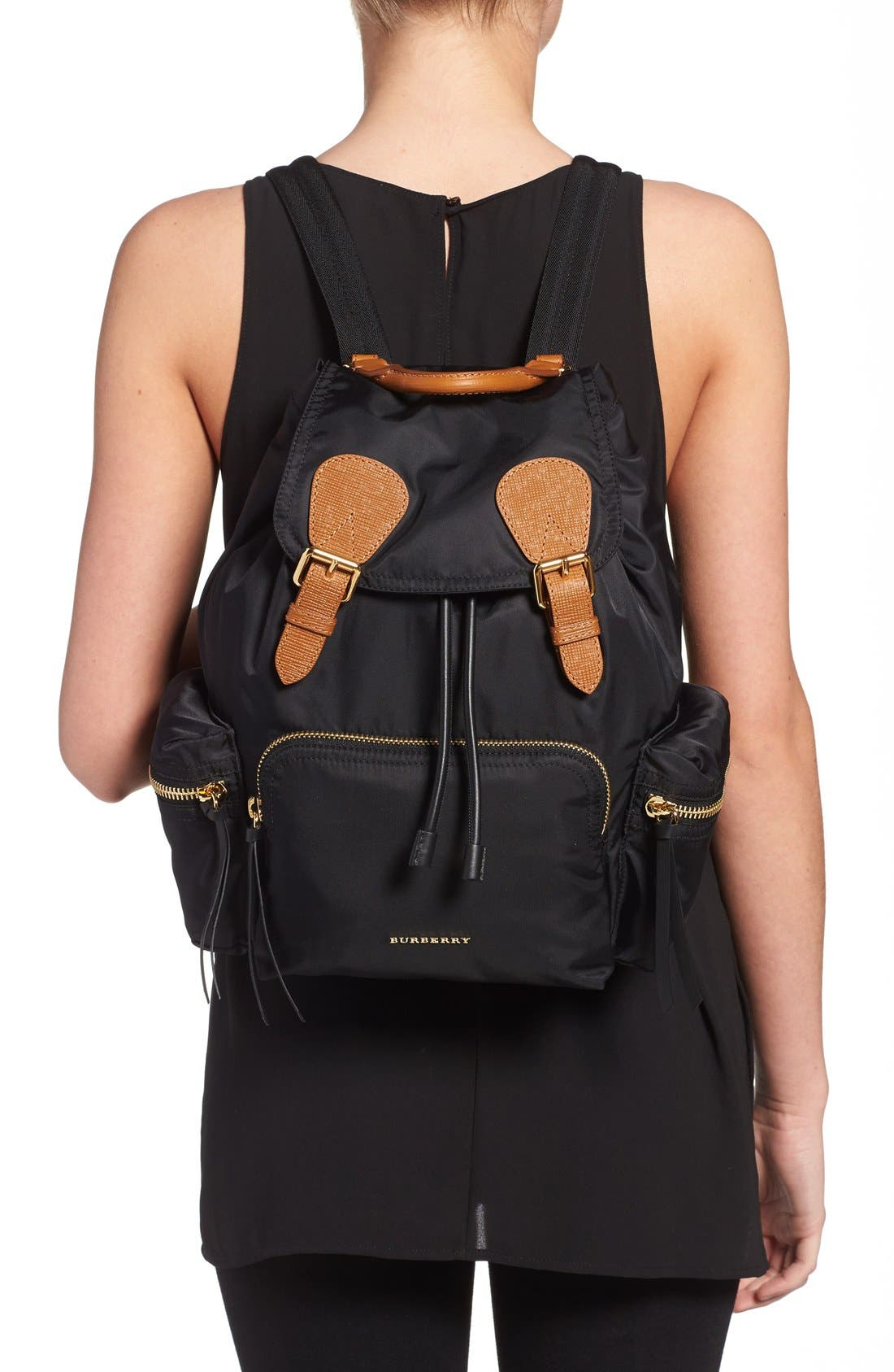 'Medium Runway Rucksack' Nylon Backpack,                             Alternate thumbnail 2, color,                             Black