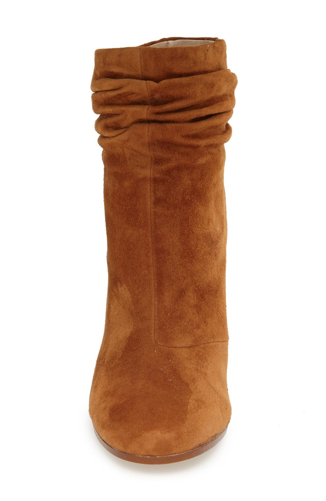 Georgie Block Heel Boot,                             Alternate thumbnail 3, color,                             Caramel Suede