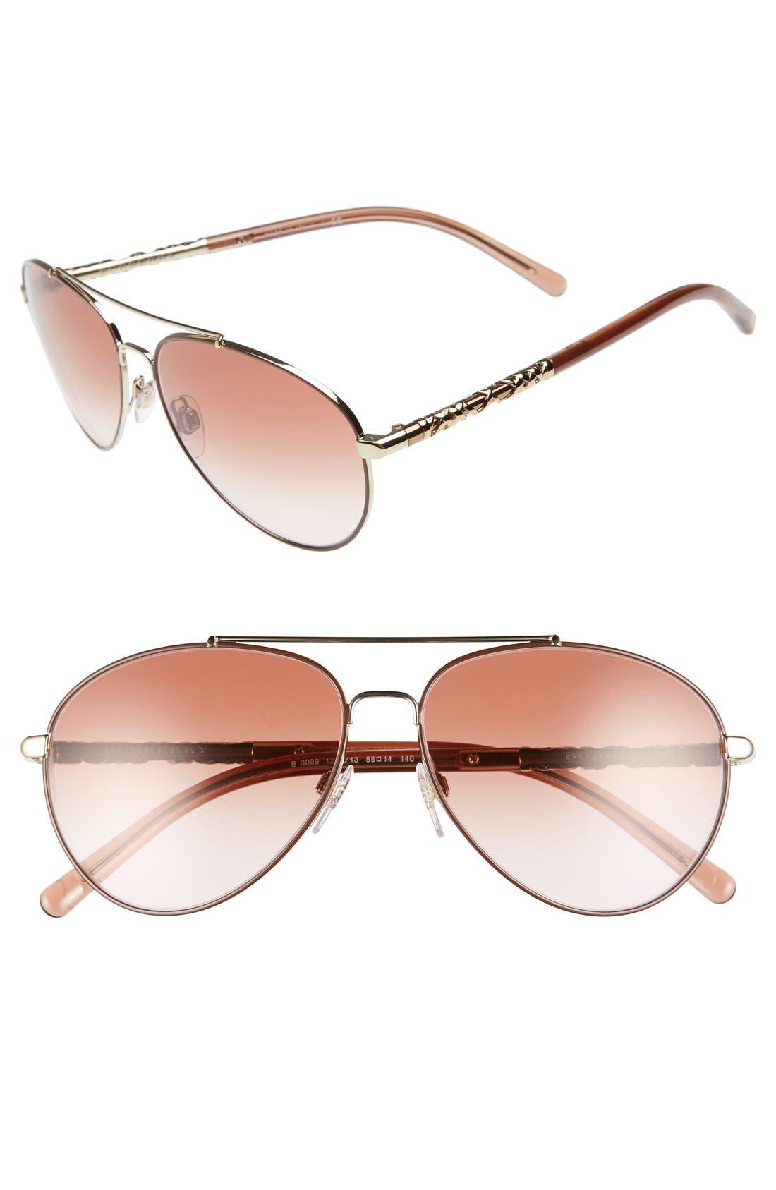 58mm Aviator Sunglasses,                         Main,                         color, Pink Gradient