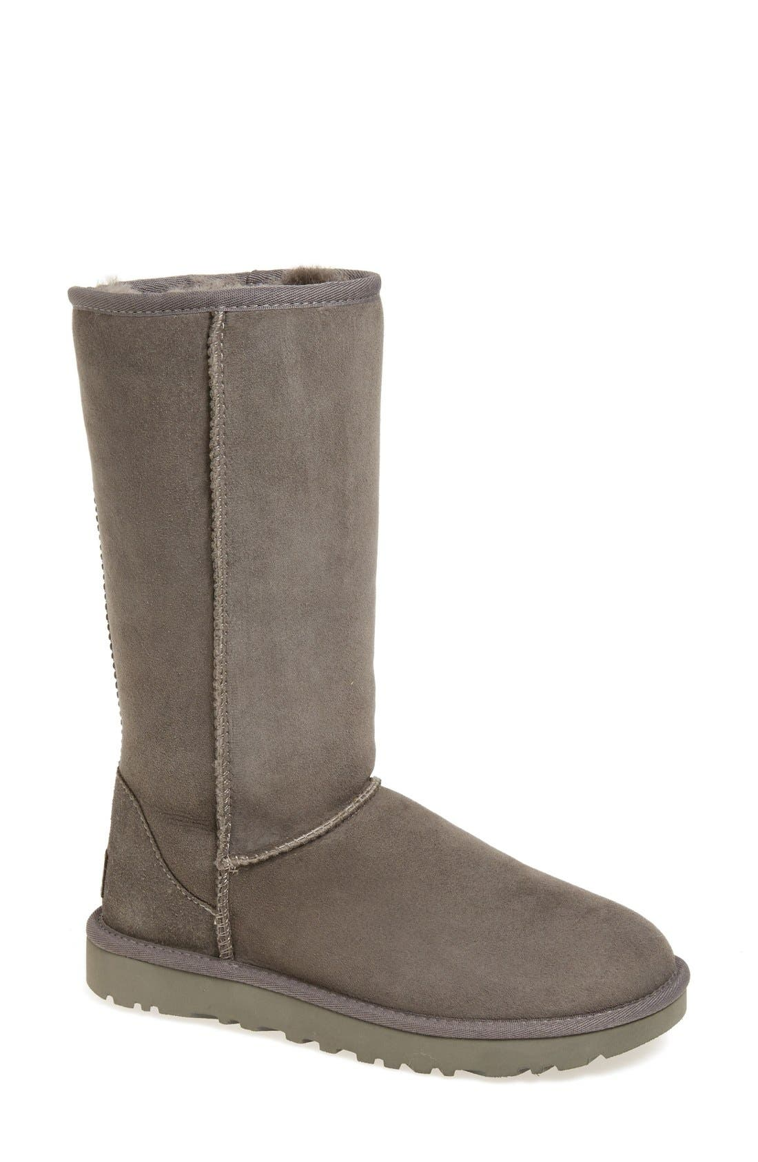 'Classic II' Genuine Shearling Lined Tall Boot,                             Main thumbnail 1, color,                             Grey Suede