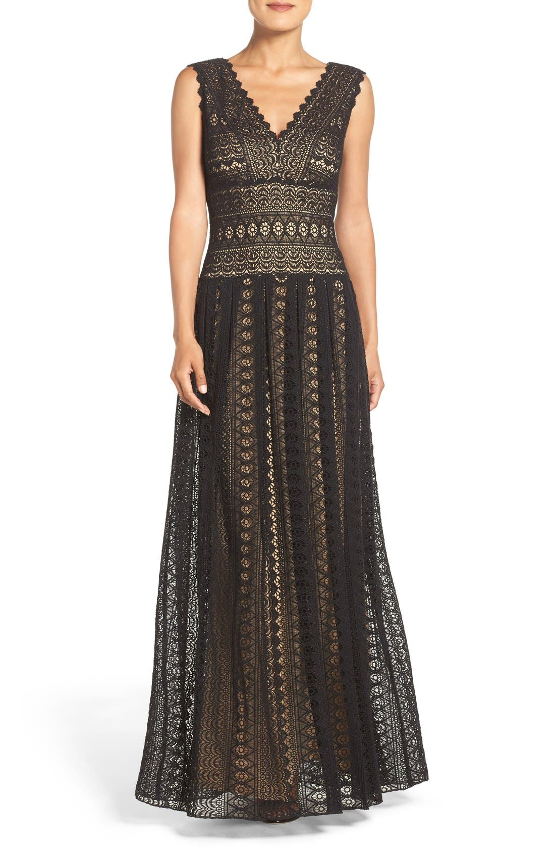 Crochet Lace Fit & Flare Gown,                         Main,                         color, Black/ Nude