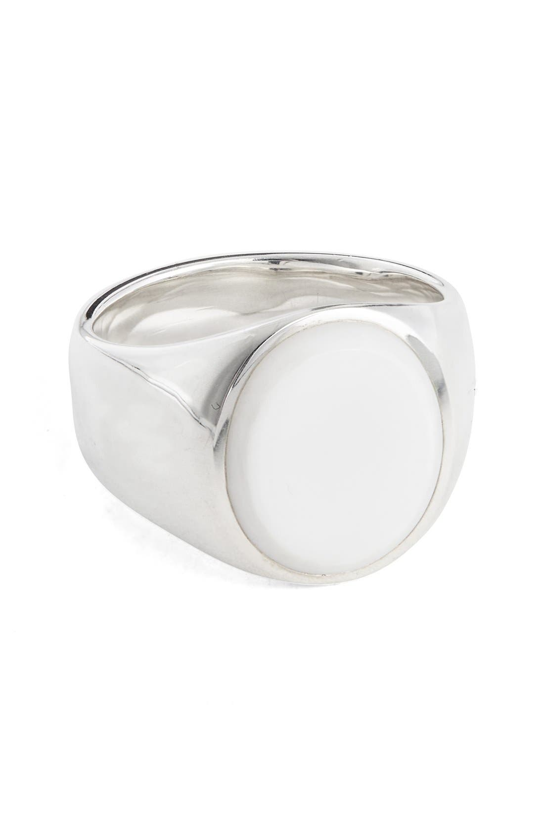 TOM WOOD Patriot Collection Oval White Agate Signet Ring