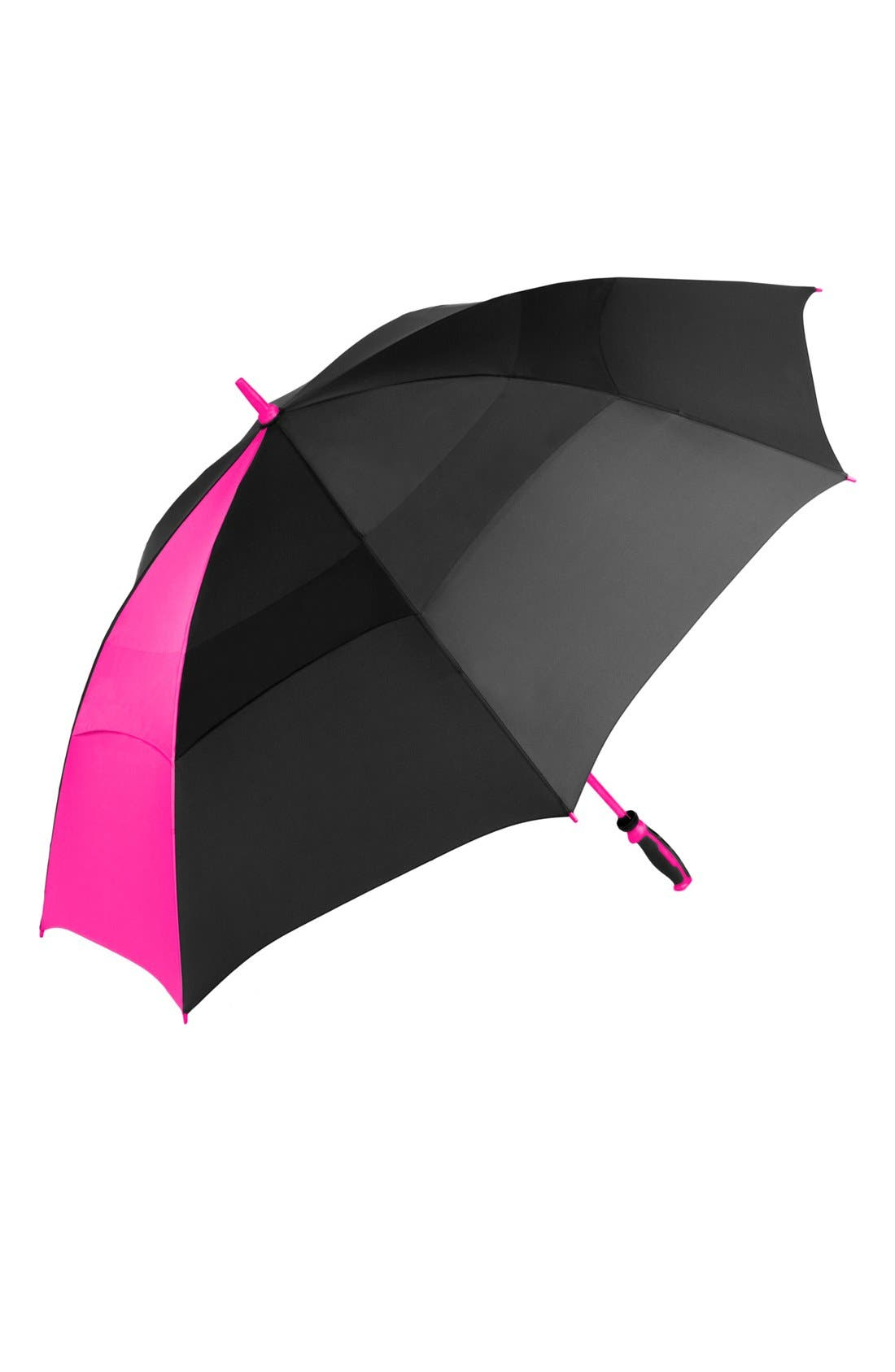 'WindJammer<sup>®</sup>' Golf Umbrella,                             Alternate thumbnail 2, color,                             Black/ Pink