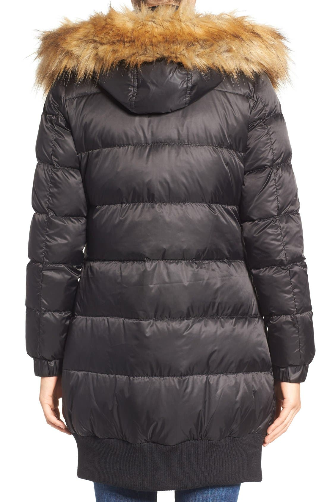 Alternate Image 2  - 7 For All Mankind Quilted Coat with Removable Faux Fur Trim Hood