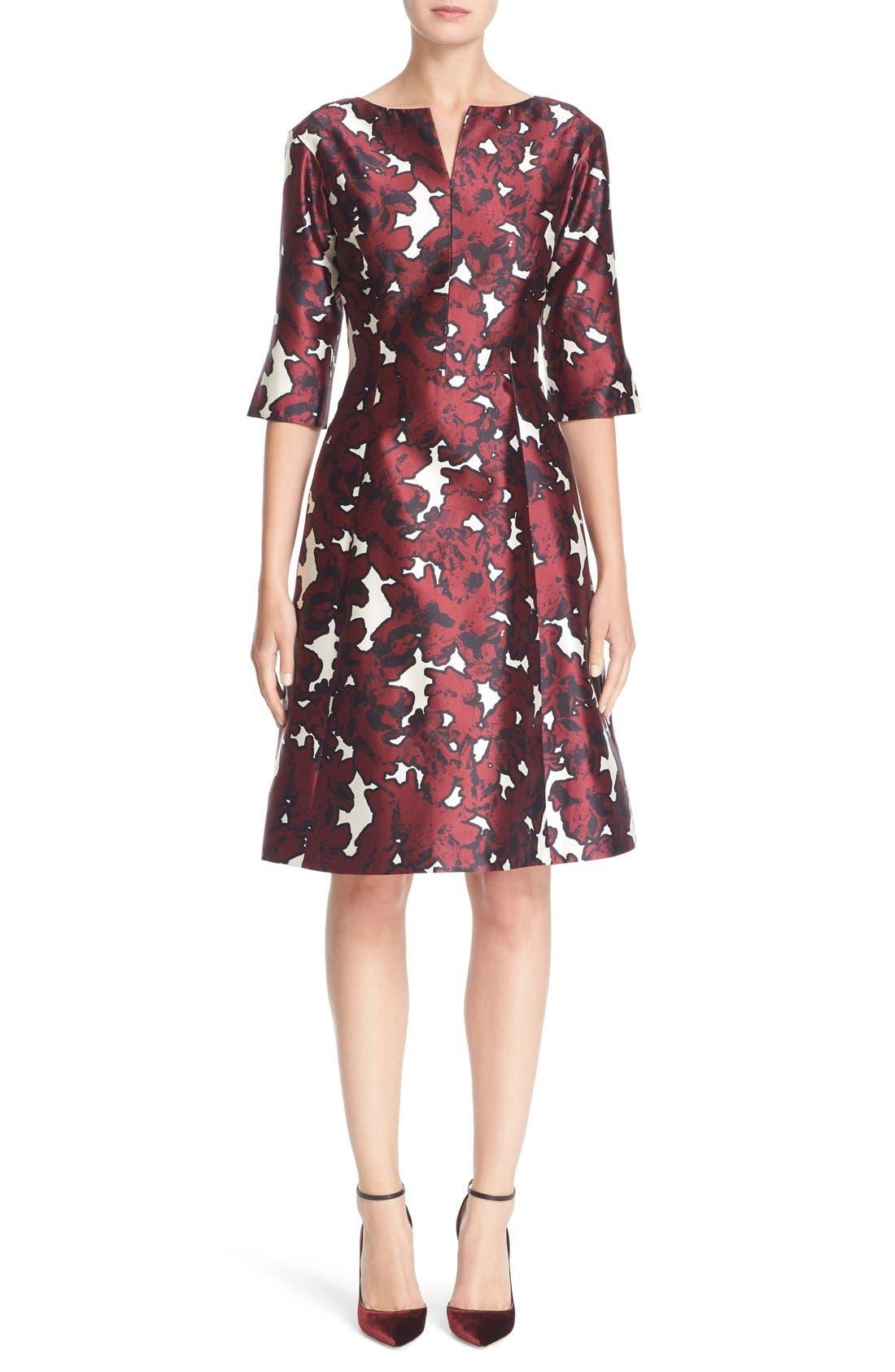 Main Image - Oscar de la Renta 'Pressed Flowers' Print Silk Mikado Dress