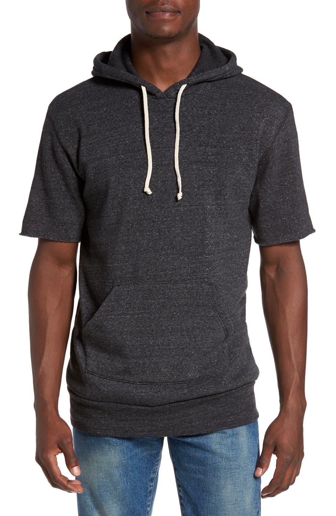 Short Sleeve Hoodie,                         Main,                         color, Eco Black