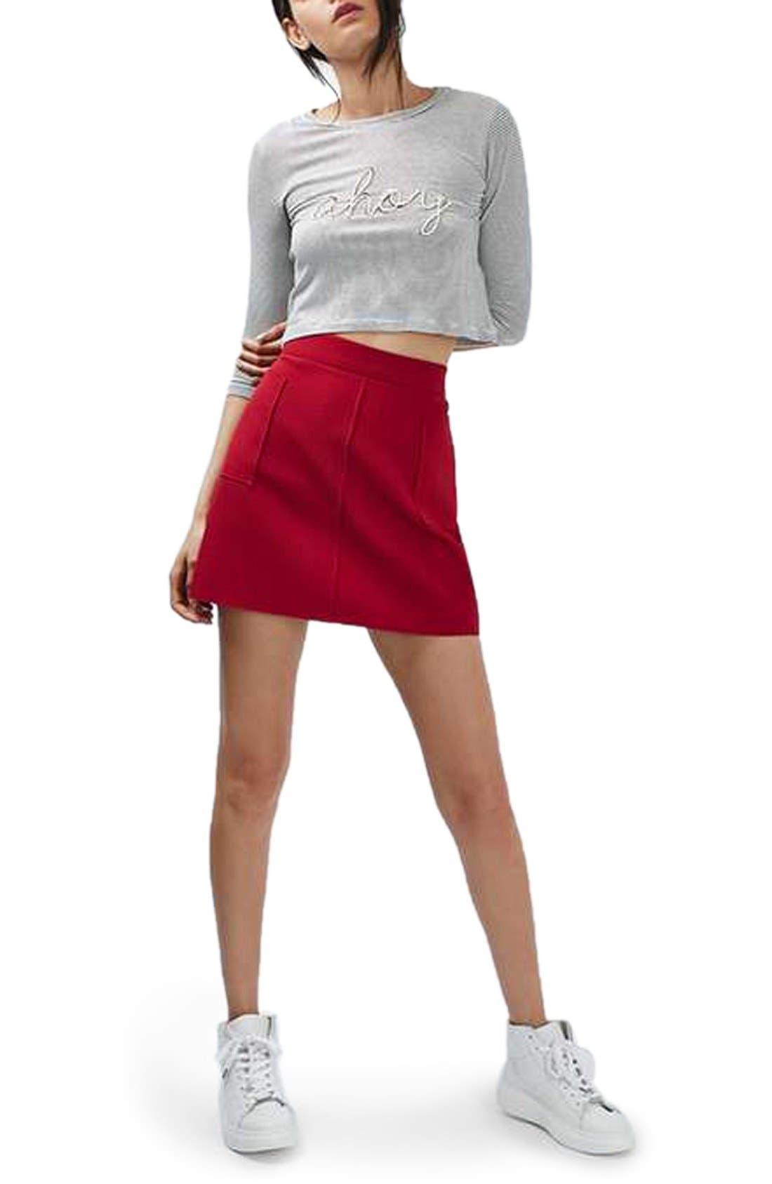 Alternate Image 2  - Topshop Patch Pocket Crepe Miniskirt