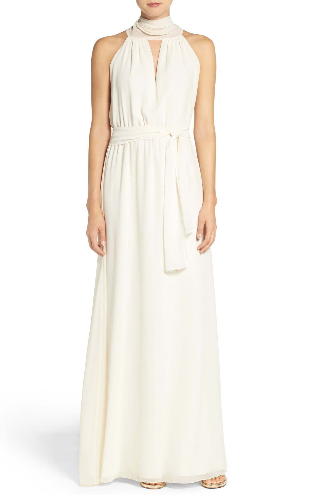 Riggs Halter V-Neck Chiffon Gown,                         Main,                         color, Going To The Chapel