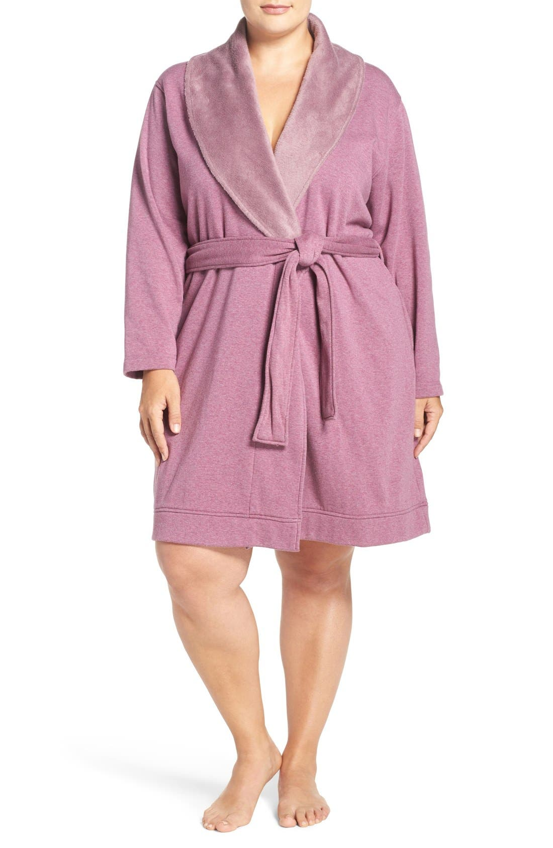 'Blanche' Plush Shawl Collar Robe,                             Main thumbnail 1, color,                             Shadow Heather