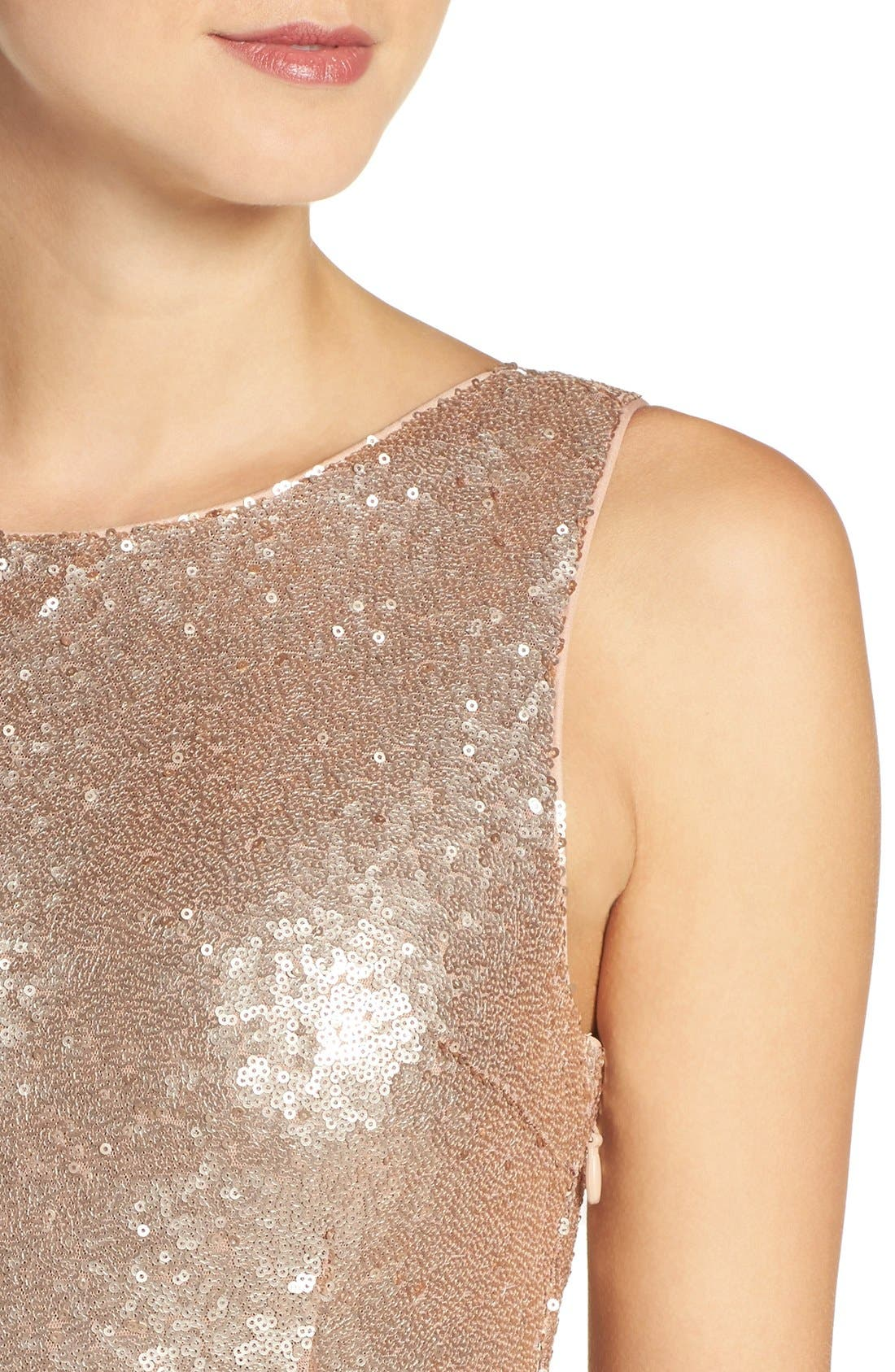 Alternate Image 5  - Lulus Sleeveless Sequin Drape Back Gown