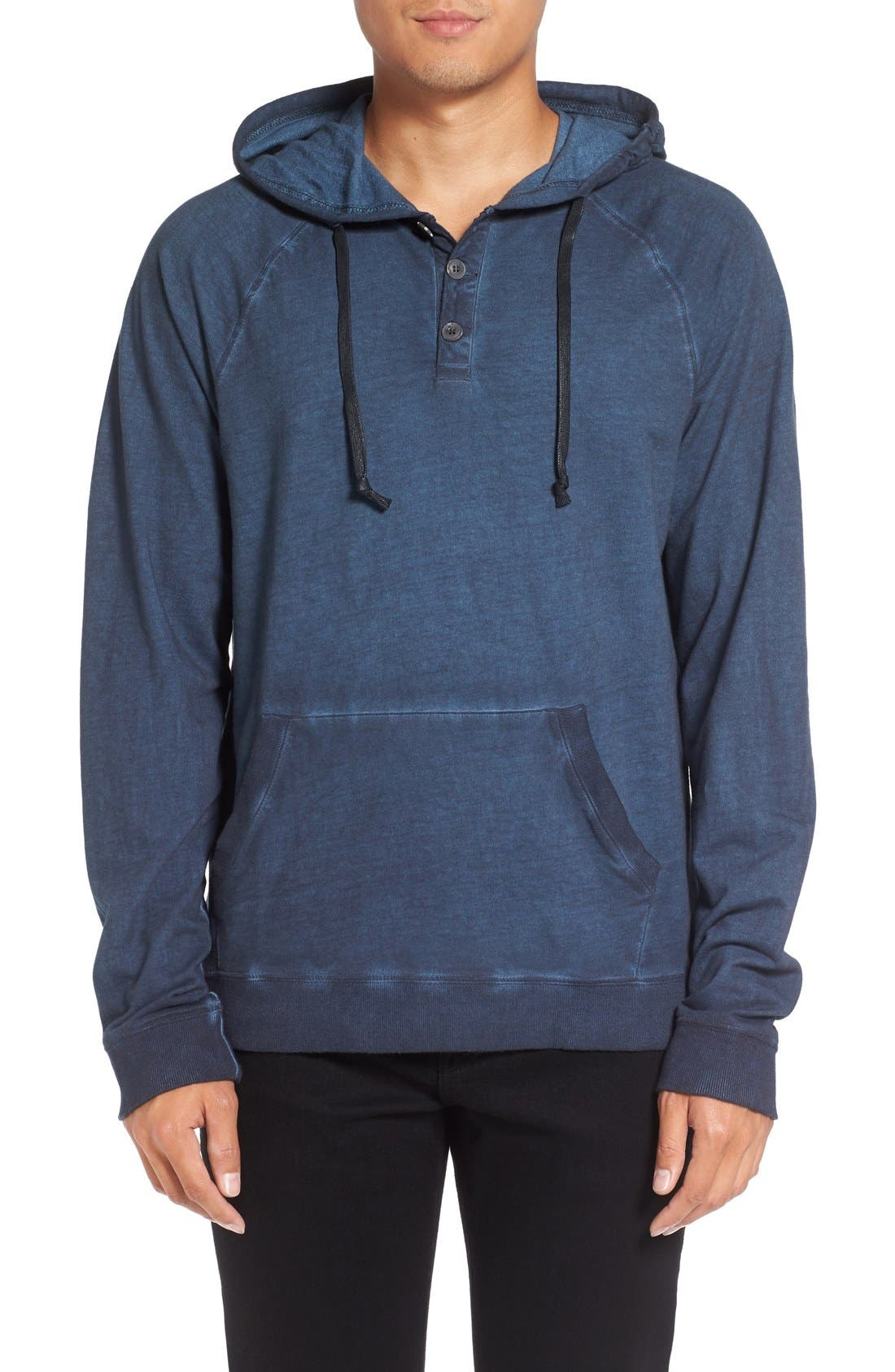 Faded Henley Hoodie,                         Main,                         color, Navy