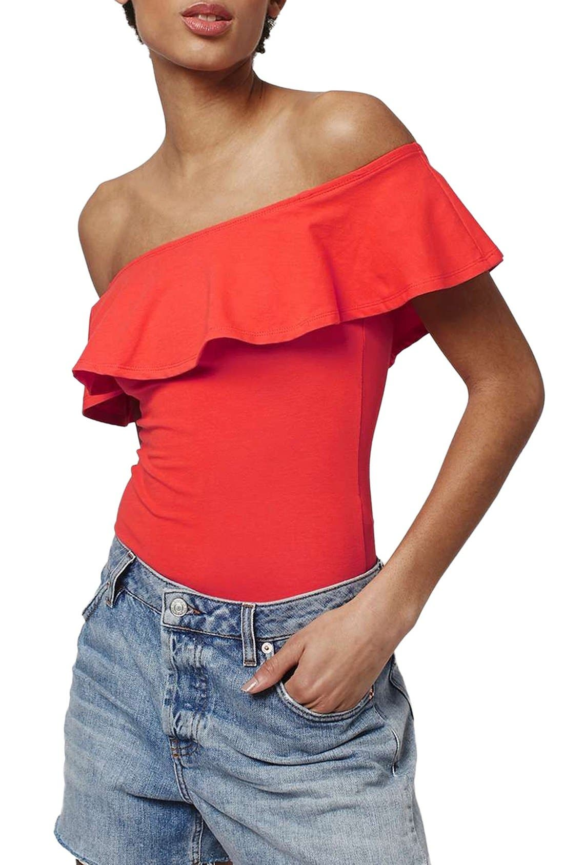 Main Image - Topshop Ruffle Off the Shoulder Bodysuit