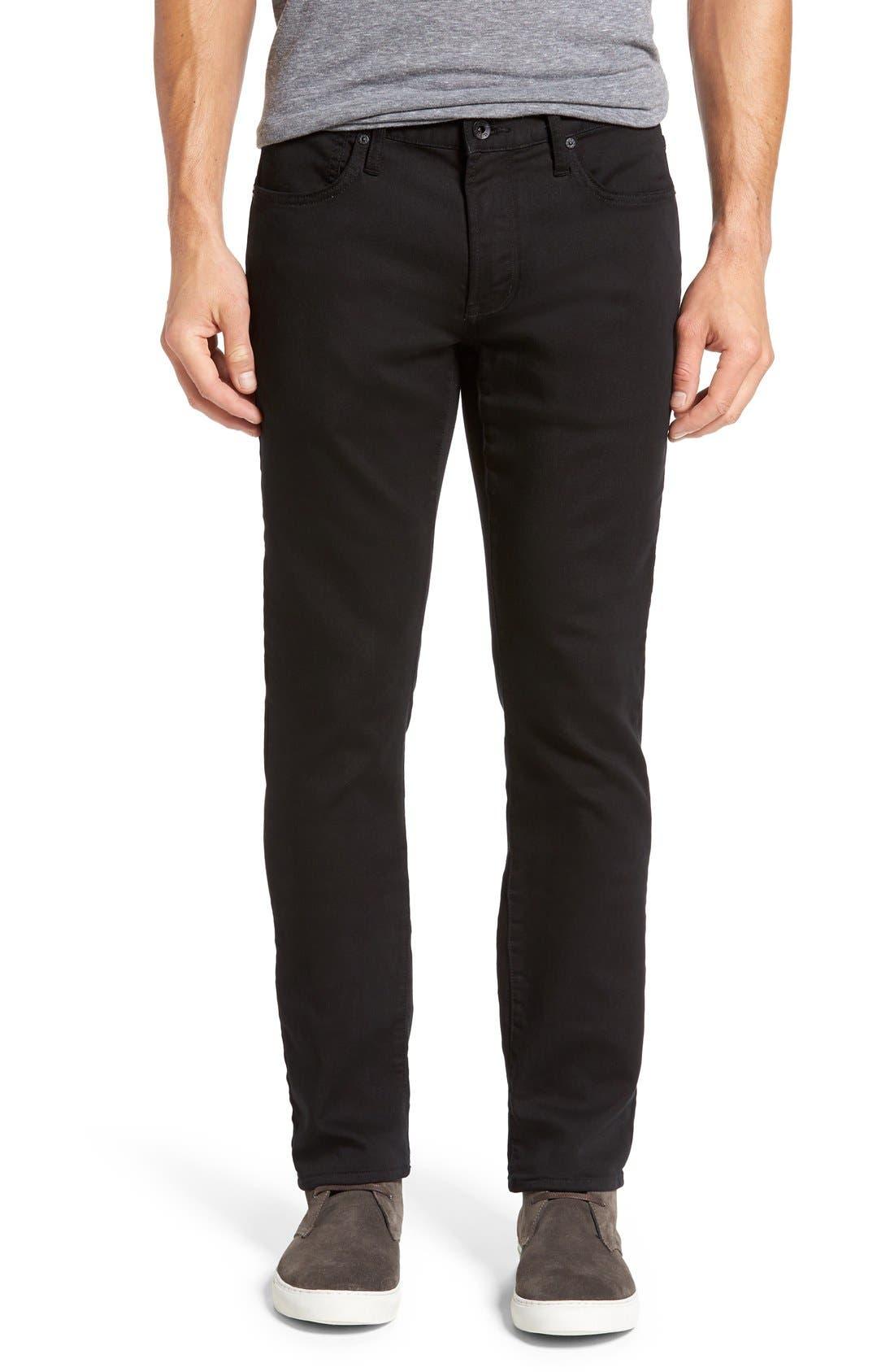 'Bowery' Slim Straight Leg Jeans,                             Main thumbnail 1, color,                             Black