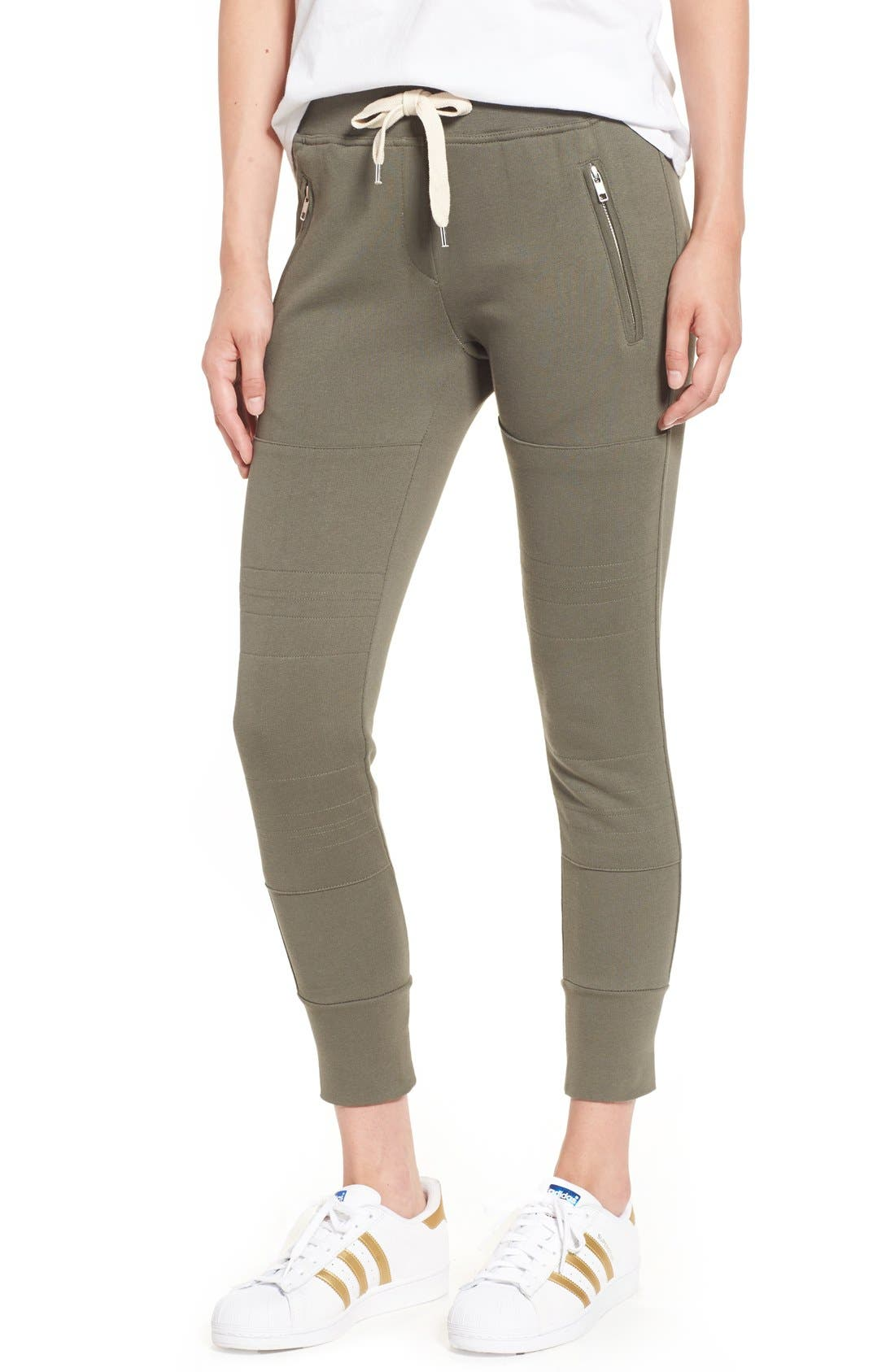 'Lux' Skinny Cotton Jogger Pants,                         Main,                         color, Olive
