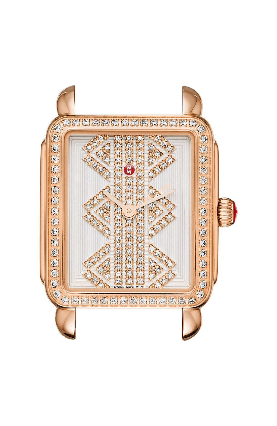 Deco II Mid Diamond Dial Watch Case, 26mm x 28mm,                         Main,                         color, Rose Gold