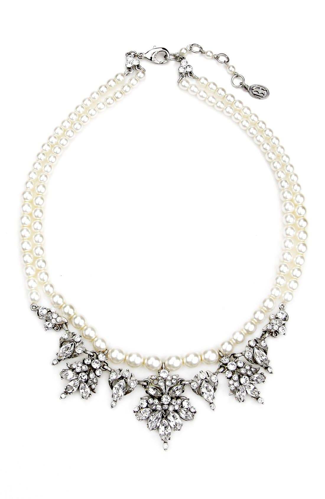 Faux Pearl & Crystal Collar Necklace,                         Main,                         color, Ivory/ Clear