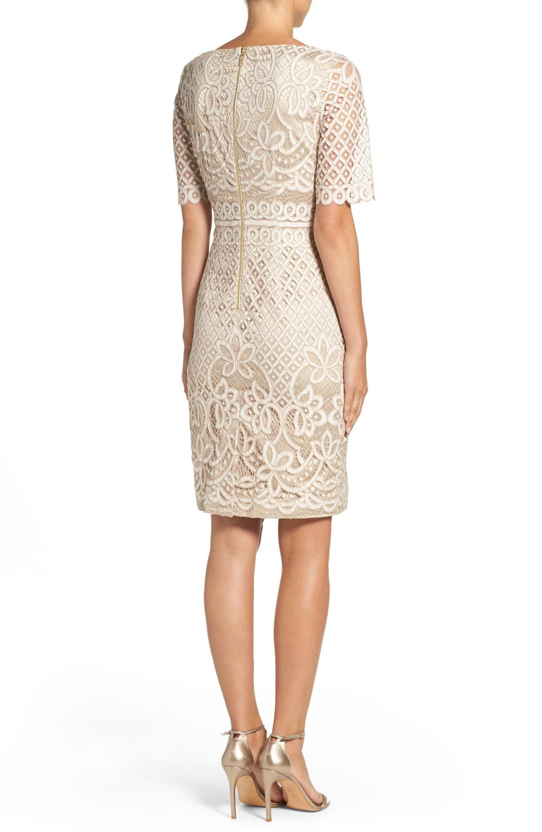 Lace Sheath Dress,                             Alternate thumbnail 5, color,                             Ivory Nude
