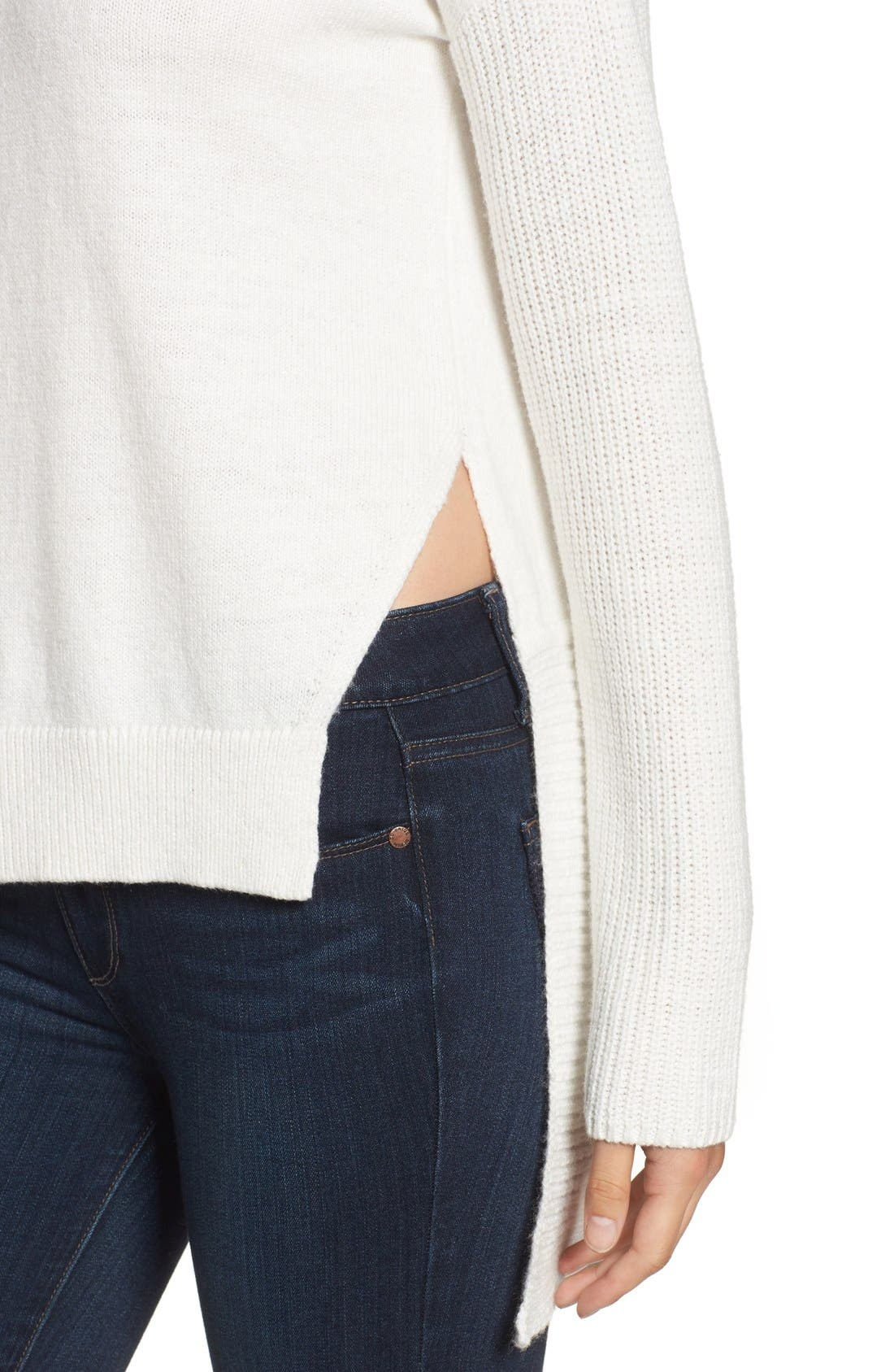 Asymmetrical Hem Sweater,                             Alternate thumbnail 4, color,                             White Snow