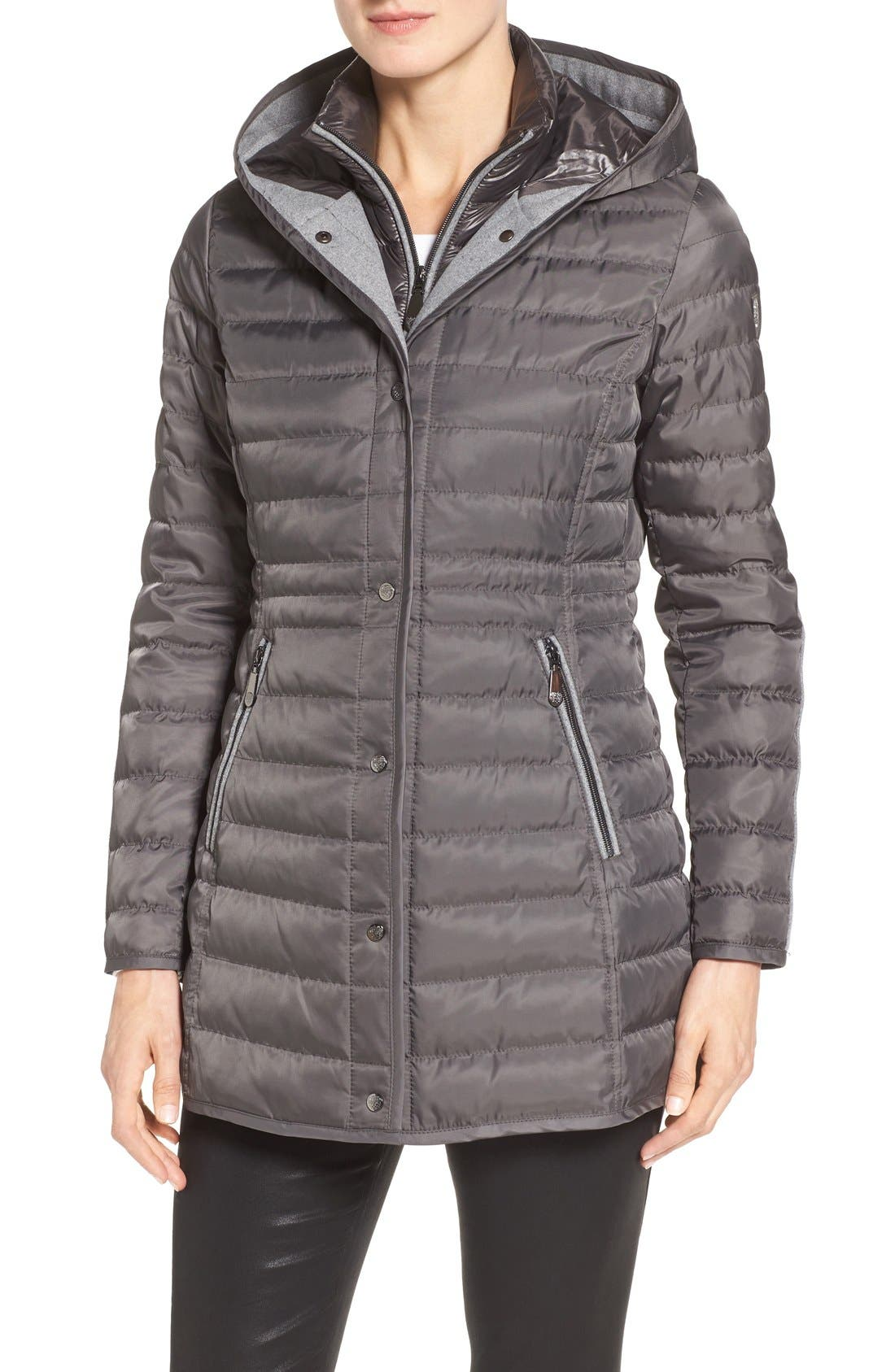 Quilted Down Coat,                             Alternate thumbnail 4, color,                             Iron