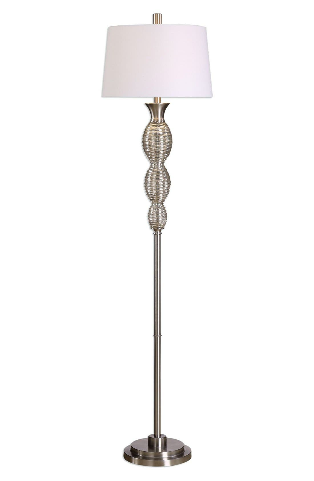 Mercury Glass Floor Lamp,                             Main thumbnail 1, color,                             Metallic Silver