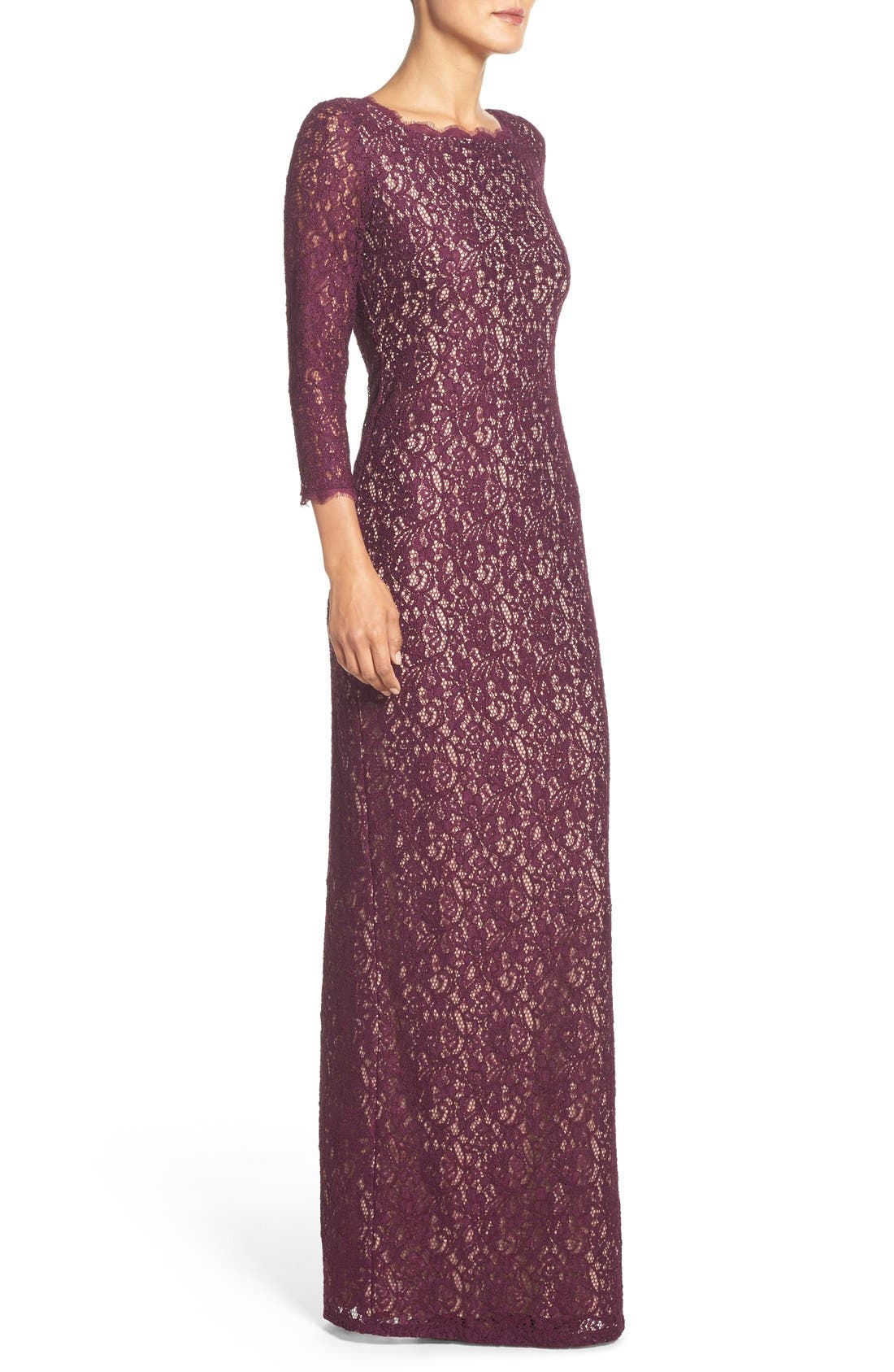 Alternate Image 3  - Adrianna Papell Scalloped Lace Gown (Regular & Petite)