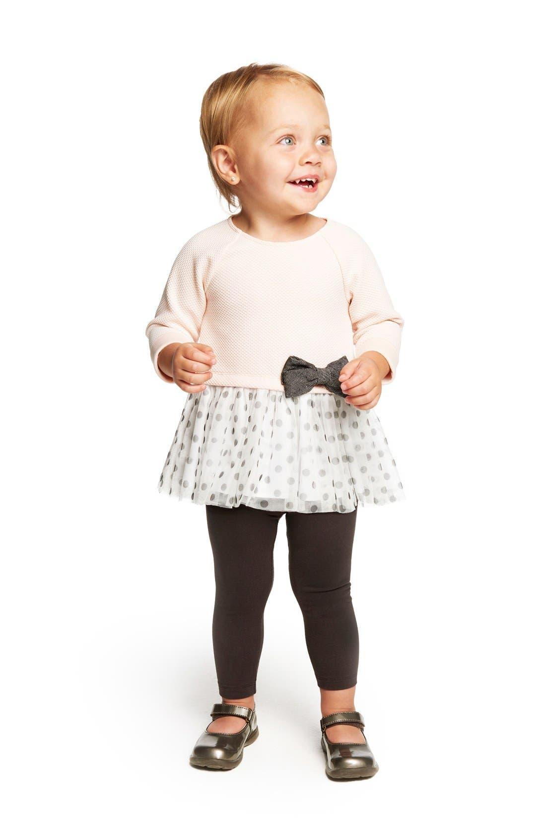 Alternate Image 2  - Pippa & Julie Polka Dot Tulle Hem Top & Leggings Set (Baby Girls)