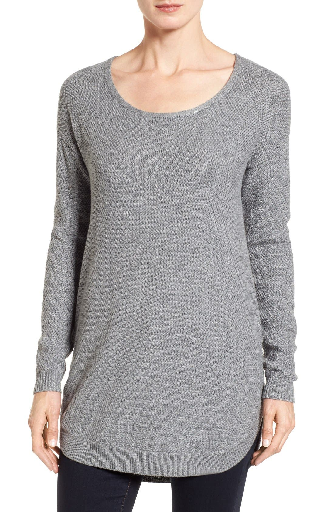 Texture Knit Tunic,                             Main thumbnail 1, color,                             Grey Texture Pattern