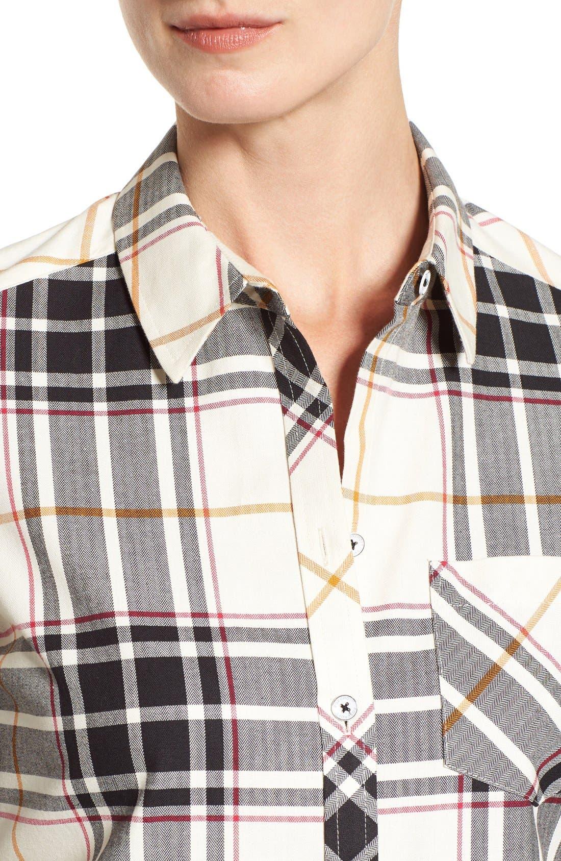Alternate Image 4  - Foxcroft Herringbone Plaid Roll Sleeve Shirt (Regular & Petite)
